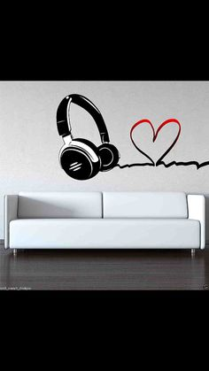 Full Colour Love Music DJ Headphones Wall Art by WallSmartDesigns