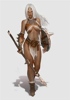 human elf female tribal warrior fighter barbarian