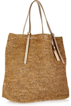 Michael Kors Santorini raffia tote    The gold leather handles lend this natural style a subtle hint of glamour-carry it either on your shoulder or in the c