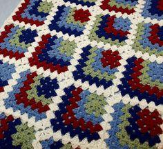 Mitered Granny Square Crochet Baby Blanket