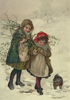 Vintage Illustration Lizzie Lawson Mack – English) - Christmas Tree Fairy Gathering Holly Children Dreaming Of Toys Golden Days Puss In The Corner Under The Mistletoe An Elder Sister Tells Her Younger Sister The Story Of The Little Piggy Putting Away… Vintage Illustration, Illustration Noel, Christmas Illustration, Vintage Christmas Images, Victorian Christmas, Christmas Pictures, Vintage Images, Christmas Postcards, Vintage Pictures