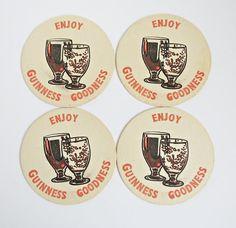 Vintage Enjoy Guinness Goodness / Guinness is Good for you Beer Mats - Vintage Guinness Beer Mats x 4