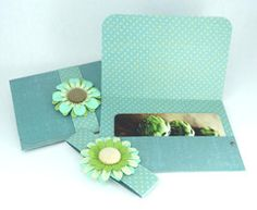 Gift Card Holders - Aqua Teal Blue Polka Dots and Flower Accents - Set | Bugabaloo, Inc.