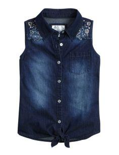 Sleeveless Denim Tie Front Shirt | Girls Shirts Clothes | Shop Justice
