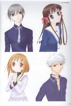 Fruits Basket~~Yuki Sohma, Tohru Honda, Kisa Sohma, and Hatsuharu Sohma. I need to finish reading this series
