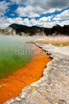 Colorful World - New Zealand. Wai-O-Tapu Wonderland. Geothermal area at Wai-O-Ta , Green Pond, Blue Green, North Island New Zealand, Country Roads, Stock Photos, Art Prints, Landscape, World, Water