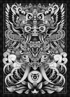 Barong Bali Art Print by godzillarge Kunst Tattoos, Tattoo Drawings, Art Drawings, Barong Bali, Cambodian Art, Dragons, Indonesian Art, Japanese Tattoo Art, Thai Art