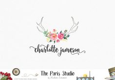 Modern Watercolor Floral Antler Logo Design Website Logo Photography Branding Logo