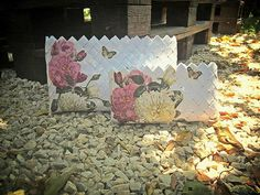Handmade paper bag with flower decoupage decoration by Loulouditsa, $39.00