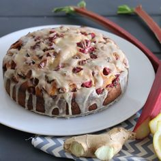 FARRO:  Rhubarb Cake with Ginger Glaze