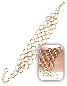Maxi Pulseira de argolas folheada a ouro  Código: P299