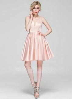 ... Neckholder Kurz Mini Satin Kleid. A-Linie Princess-Linie V-Ausschnitt  Knielang Reißverschluss Reguläre Träger Ärmellos Nein 191e351e8f
