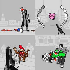 Good Guys In Bad Games Set #nintendo #cartoon #fun #gaming #illustration