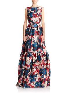 ERDEM Alouette Tiered Floral Silk Gown. #erdem #cloth #gown