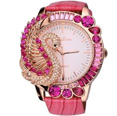 $100 Melissa Fashion Women's Watch Luxury Big Dial Leather Band Pink Crystal Swan NEW #Melissa #Dress