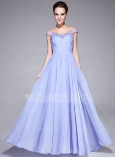 Evening Dresses - $132.99 - A-Line/Princess Off-the-Shoulder Floor-Length Chiffon Tulle Evening Dress With Ruffle Beading (017041153) http://jenjenhouse.com/A-Line-Princess-Off-The-Shoulder-Floor-Length-Chiffon-Tulle-Evening-Dress-With-Ruffle-Beading-017041153-g41153