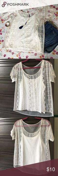 AE Embroidered Mesh Summer Top This top is just slightly off-white in color and the tank top underneath the shirt is attached, but only by a small thread that could be cut if you wanted to wear the top separate from the cami. I've had this shirt for a while but only worn it once, it is in excellent condition. American Eagle Outfitters Tops Blouses