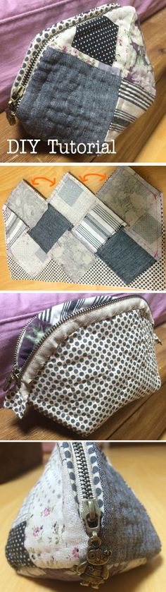 Quilted Patchwork Cosmetic Case Makeup Bag Padded Zipper Pouch. DIY Tutorial in Pictures. http://www.handmadiya.com/2015/10/quilted-patchwork-cosmetic-bag.html