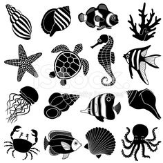 sea creatures art Coloring Pages is part of Sea Creatures Coloring Pages At Getcolorings Com Free - Vector Art sea creatures icons Sea Creatures Drawing, Creature Drawings, Ocean Creatures, Sea Creatures Crafts, Logo Animal, Cartoon Sea Animals, Animal Silhouette, Free Vector Art, Vector Icons