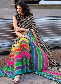 Multicolor Georgette Saree with Art Silk Blouse Jamdani Saree, Kanchipuram Saree, Lehenga Saree, Georgette Sarees, Saree Shopping, Art Silk Sarees, Buy Sarees Online, Yellow Print, Printed Sarees