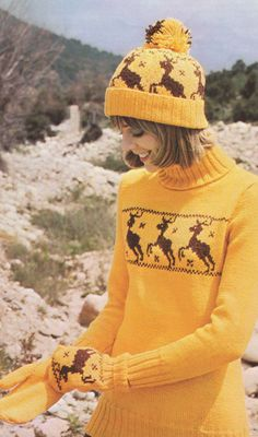 1970s, reindeer long sweater with matching hat and mittens.