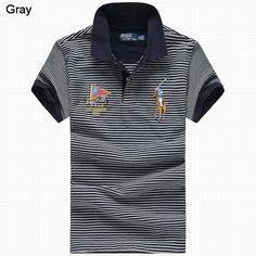 Ralph Lauren Men Flag Striped Color Pony Polo Black Gray
