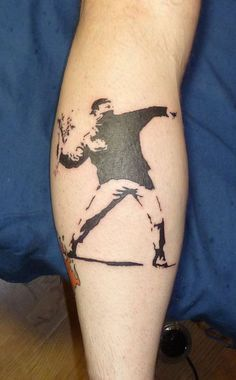 Banksy Throwing Flowers Tattoo is a part of Banksy Tattoos gallery, and If you like this image you should take a look at some more tattoo designs of the kind Leg Tattoos, Flower Tattoos, I Tattoo, Cool Tattoos, Banksy Tattoo, Banksy Art, Tattoos Gallery, Tattoo Designs, Tattoo Ideas
