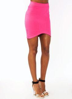 curved hem mini skirt