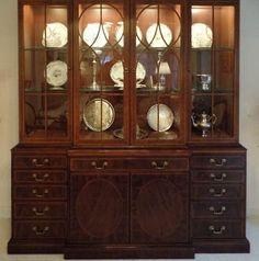 Henredon China Cabinet with Desk - 18th century style - mahogany furniture, fretwork design by mockingbirdgallerync on Etsy