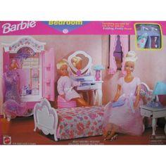 Barbie Bedroom Playset - Folding Pretty House (1997 Arcotoys, Mattel)