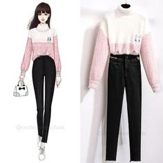 Fashion Drawing Dresses, Fashion Illustration Dresses, Korean Girl Fashion, Cute Fashion, Style Fashion, Kpop Fashion Outfits, Korean Outfits, Teenage Girl Outfits, Cute Casual Outfits