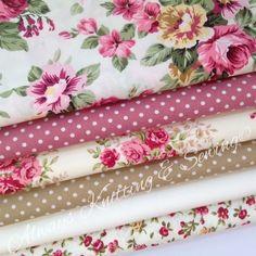 Bundle 6 fat quarters Victoria & sophies roses 100% cotton fabric/material