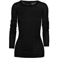 Rick Owens Cotton-jersey top ($302) ❤ liked on Polyvore featuring tops, shirts, sweaters, blusas, black, long sleeved, cotton jersey shirt, rick owens, cotton jersey and long sleeve shirts