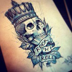 Tattoo idea. Tattoo. Skull. Blue. Crown. Rock 'n roll.