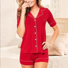 Adore Me Angie Pajama Set in Red  Angie Pajama Set in Red from Adore Me. Size small. Runs true to size. Took tags off but only worn once so perfect condition. I found the top to be too small on me for my chest size. Any questions just ask!  Adore Me Intimates & Sleepwear Pajamas
