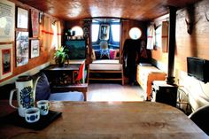 Escher Tiny Home Men's Gear. DIY Shabby Chic Style Small Entrance Decor Ideas Home . 52 Small Bedroom Decorating Ideas That Have Major Impressions - Home and furniture ideas is here Canal Barge, Canal Boat, Small Space Living, Living Spaces, Barge Interior, Narrowboat Interiors, Cruiser Boat, Houseboat Living, Floating House