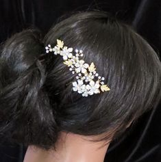 Gold Bridal hair comb Gold Wedding headpiece by TheExquisiteBride