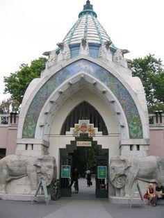 Budapest Zoo Art Nouveau entrance with elephants