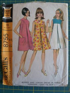 Vintage 1960s Sewing Pattern McCalls 8755 Women's Mod Tent Dress w/ Pleat. Size 16. Bust 36. Retro Sewing Patterns Mad Men.