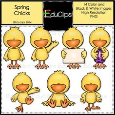 Free Spring Chicks Clip Art Bundle: Charlie chick was born last week. He is excited about spring and would be only too happy if you would add his images to your spring documents and l. Animal Templates, Cute Clipart, Black N White Images, Scrapbooking, Digital Pattern, In Kindergarten, Teaching Resources, Teaching Ideas, Coloring Pages