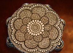 Henna Mandala Tambourine, intricate detail, floral pattern. $45.00, via Etsy.