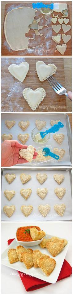 Mozzarella Cheese Filled Hearts...or pierogi hearts for Valentines day!