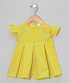 Yellow Dot Cross Angel-Sleeve Romper - Infant, Toddler & Girls