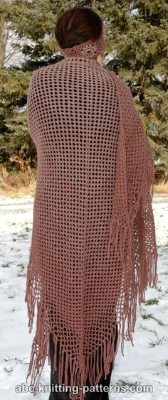 Gradient Color Shawl With Crochet Fringe By Elaine Phillips - Free Crochet Pattern - (ravelry)