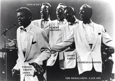 "The Medallions formed in Los Angeles in 1954, after Vernon Green was heard singing on the street by Walter ""Dootsie"" Williams, the owner of Dootone Records. Green put together a singing group with three friends from Fremont High School, Andrew Blue (tenor), Randolph Bryant (baritone), and Ira Foley (bass). Their first release, ""Buick 59"", was one of the first releases on Dootone in September 1954. It was backed with a ballad called ""The Letter"", which received extensive airplay in the…"