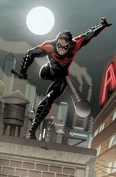 Nightwing Springs Into Action. really curious how he threw that....the angles make no sense.