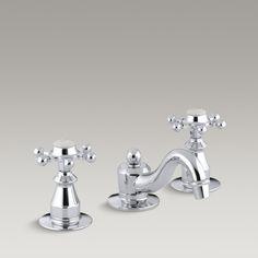 Antique widespread bathroom sink faucet with handles - kohler Bathroom Sink Faucets, Clawfoot Bathtub, Widespread Bathroom Faucet, Lavatory Faucet, Traditional Bathroom, Traditional Decor, Plumbing Fixtures, Beautiful Bathrooms, Bathroom Inspiration