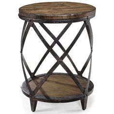 Update the look of your living space with this round end table. It features a metalwork design that adds an extra touch of contemporary style to the piece. You can show off knickknacks on the top and store books on the bottom for functionality.