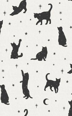 Black Cat Moon & Stars Pattern Wallpaper | Murals Wallpaper