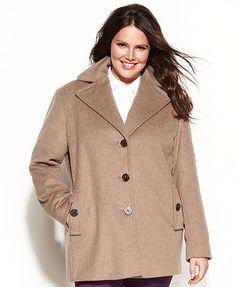 Calvin Klein Plus Size Coat, Wool-Blend Pea Coat